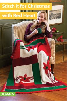 Everyone loves flowers, especially the gorgeous poinsettias on this throw! Not only are they beautiful, but they come with a ton of love. Creating a gift like this is like giving someone a hug that lasts a lifetime. Crochet Christmas Decorations, Holiday Crochet, Christmas Ideas, Crochet Blanket Patterns, Knitting Patterns, Crochet Blankets, Rainbow Loom Fishtail, Crochet Projects, Sewing Projects