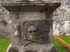 Tomb dating from 1612 in Anwoth old graveyard, Scotland Love the scull and cross bones :D