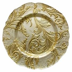 "VANESSA CHARGER PLATE-GOLD 13""D glass"