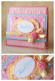 handmade card: Thank You by maropeusa, via Flickr   ... luv the cotton candy colors and the multi-media bow ...