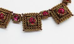 Bronze and red beaded necklace by trytobead | Roma, Pattern