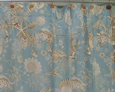 """Matching shower curtain for one of our favorite quilts. Shower curtain is 72x72"""" and coordinates with the Natural Shell Quilt and Coastal Living pieced quilts. 12 Button holes for hooks. Have a window"""