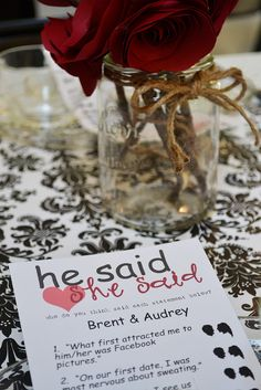 He Said, She Said DIY bridal shower game.. I love black white & red! @Amanda Snelson Snelson Snelson Brown