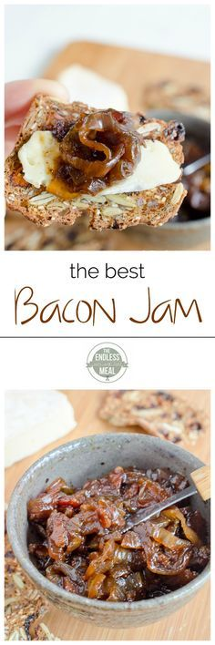 """Best Bacon Jam The Best Bacon Jam Recipe (Okay, not sure how """"healthy"""" this is.)The Best Bacon Jam Recipe (Okay, not sure how """"healthy"""" this is. Best Bacon Jam Recipe, Bacon Recipes, Jam Recipes, Canning Recipes, Paleo Recipes, Easy To Make Appetizers, Appetizer Recipes, Party Appetizers, Gastronomia"""