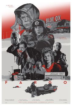 Fargo - silkscreen movie poster (click image for more detail) Artist: Grzegorz Domaradzki Venue: Stateside Theatre Location: Austin, TX Date: Edition: numbered Size: x Condition: Mint Notes: this poster is on medium weight off-white colored paper. Mulholland Drive, Norman Rockwell, Fargo 1996, Illustrator, Paramount Theater, Fanart, Minimal Movie Posters, Movie Posters, Los Hermanos