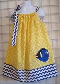 Dory Dress, Finding Nemo Dress, Pillowcase Dress, Royal Blue Chevron, Yellow Quatrefoil, Fish Dress, Disney Movie Inspired, Size 2T to 14  I'm a Beachbody Coach! Message me to get healthy!