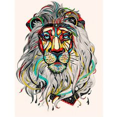 it would be cool to recreate or draw inspiration from!! Lion Art Print by Felicia Atanasiu ($18.00)
