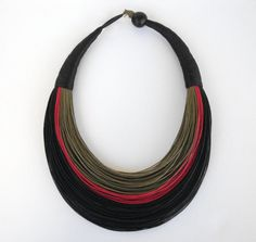 Statement Fiber Necklace Minimalist Jewelry por superlittlecute