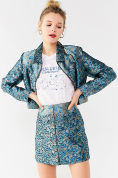 UO Western Floral Button-Down Skirt   Urban Outfitters