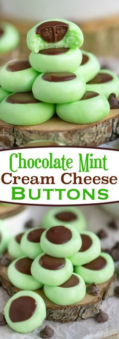 These Chocolate Mint Cream Cheese Buttons are perfect for all occasions! Lovely mint flavored cream cheese mints filled with a decadent chocolate ganache. Guaranteed to be a hit with your chocolate and mint loving friends and family! // Mom On Timeout #chocolate #mint #candy #dessert #recipe #Christmas #StPatricksDay