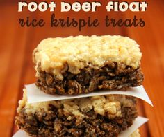 Root Beer Float Rice Krispie Treats -- Can't wait to make these for my next party!