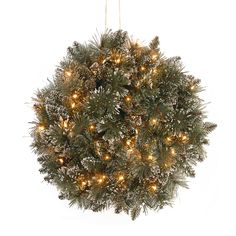 National Tree Company Pre-Lit Glittery Bristle Pine Kissing Ball With Led Lights Green Christmas Balls, Christmas Crafts, Christmas Decorations, Holiday Decor, Christmas Garlands, Winter Holiday, Christmas Tree, Bed With Led Lights, White Led Lights