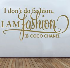 I Am Fashion Coco Channel Bedroom Quote Wall Art Vinyl Decal Sticker via Etsy