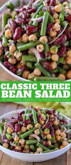 Three Bean Salad - Dinner, then Dessert - The Classic Three Bean Salad with green beans, garbanzo beans and kidney beans tossed with a sweet and sour dressing made with sugar, vinegar and celery seed is the perfect summer side dish. Bean Salad Recipes, Healthy Recipes, Healthy Bean Salads, Recipes With Garbanzo Beans, Vegan 3 Bean Salad, 5 Bean Salad, Summer Salad Recipes, Recipes With Kidney Beans, Vegetarian Recipes