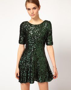 ASOS French Connection Sequin Skater Dress in Emerald
