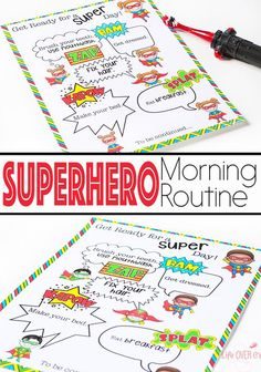 Do you have an aspiring superhero? This superhero morning routine printable is a great way to help with get ready in the morning. A fun, superhero twist on the usual morning checklist. Morning Routine Printable, Morning Routine Kids, Morning Checklist, Kids Checklist, Morning Work, Gentle Parenting, Kids And Parenting, Parenting Hacks, Teaching Kids