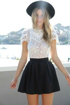 White lace blouse, black skirt and hat. Outfit of the Day: 6 March 2015 Fashion Trends, Spring 2015 Fashion, Spring Fashion Outfits, Look Fashion, Street Fashion, Summer Outfits, Fashion Tips, White Outfits, Skater Skirt Outfit For Summer