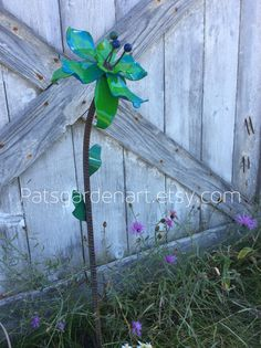 Metal Garden Art Iris Flower  Turquoise  Sour by PatsGardenArt, $34.50
