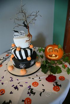 Oh yeah! Halloween wedding toppling cake. Doesn't get any better.