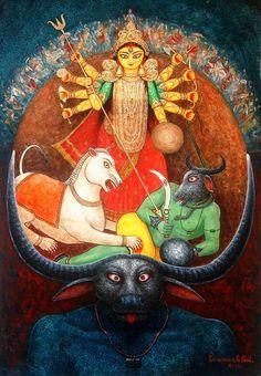 Mata Durga, Painting - Figurative - Indian Art Promoter