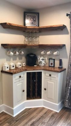 Are you looking for inspiration to design coffee bar? Check out our best collection of DIY coffee bar ideas for your home that will brighten your morning. home diy 30 Best Home Coffee Bar Ideas for All Coffee Lovers Corner Wine Cabinet, Coffee Cabinet, Corner Cabinets, Corner Wine Rack, Corner Armoire, Wine Hutch, Wine Rack Cabinet, New Kitchen, Kitchen Decor