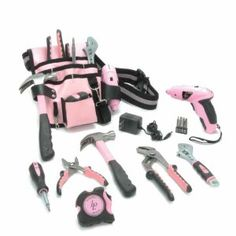 Housewarming gifts:Little Pink® Tool Pouch & Belt Kit with New Little Pink® Cordless Screwdriver