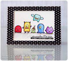 "Geburtstagskarte | birthday card - Lawn Fawn ""Monster Mash"", Create A Smile Stamps ""Monstermäßig"", Akashiya Sai Brush Pens, Simon Says Stamp ""Stitched Rectangles"""