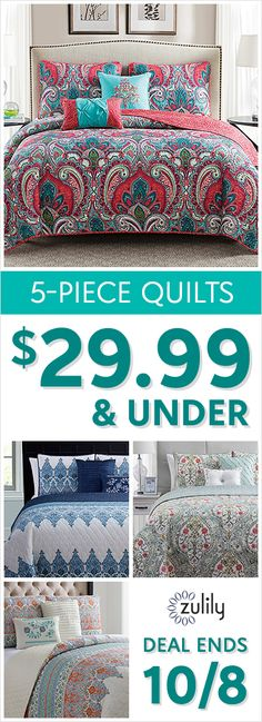 Sign up to shop dream-worthy deals on quilts, all under $30. Snooze soundly knowing you snagged a lovely five-piece quilt at a dreamy price. Deal ends 10/8.