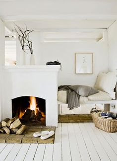 bed tucked away . simple central fireplace . deep brick hearth  Amaze #Repin By:Pinterest++ for iPad#