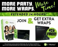 Become a Distributor today (5/25/2016) and receive extra box of wraps with your kit.  Contact me for more information.