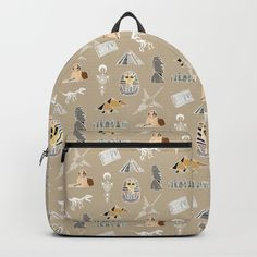 Archeo pattern Backpack by laurafrere D Craft, One Size Fits All, Fashion Backpack, Backpacks, Unisex, Shoulder Straps, Laptop, Handle, Stuff To Buy