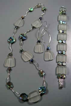 Beach Glass, Abalone & Sterling Silver