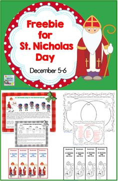 Free St. Nicholas Day in the Netherlands Dec. 5-6 1 page black and white informational text/coloring 1 page in color informational text  1 page student work page Venn diagram 1 page teacher answer key Venn diagram, and MORE, free