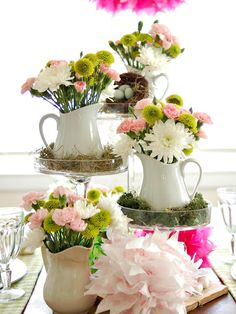 White Multi-Level Pitchers with Chrysanthemums