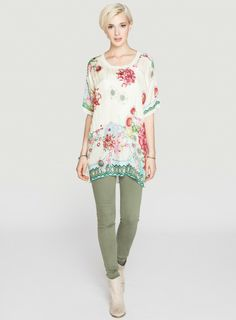 Johnny Was Printed Silk Kia Top #boho #bohemian #floral #flower #print #pattern #blouse #casual #chic