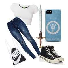 """Percy Jackson SISTER!?!?!?!"" by zialove16 ❤ liked on Polyvore featuring Helmut Lang, NIKE and Converse"