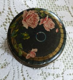 Sweet Antique Button Tin-Lithographed Sewing Basket with Roses-Shabby Vintage Chic
