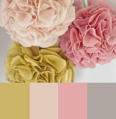 beautiful light palette - pink, grey, chartreuse