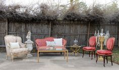 Rent My Dust Vintage Lounge Area's for Your Wedding! - Blog - RENT MY DUST Vintage Rentals.  This is for the pink bride or Shabby Chic Bride featuring our pink Marie Antoinette Chair, Pink Dorothy Settee, & Roxy & Ruby Chairs.  #vintagerentals #weddinglounges