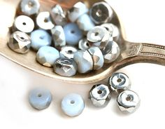 6x3mm Opal Blue Rondelle beads, Silver coating fire polished czech glass faceted spacers - 25Pc - 0514 by MayaHoney on Etsy