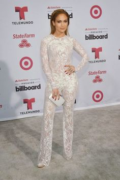 Jennifer Lopez in a sheer jumpsuit at the 2015 Billboard Latin Music Awards  in Miami