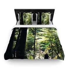 "Robin Dickinson ""Enchanted Forest"" Green Woven Duvet Cover - KESS InHouse  - 1"