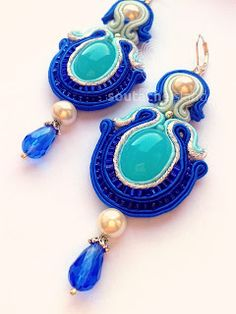 Cobalt, turquoise, mint, white soutache earrings