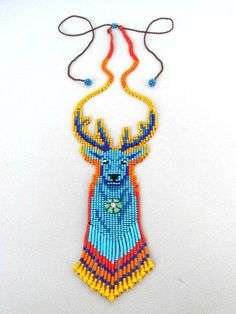 Hikuri Necklace Spirit by HANWImedicineArt Bead Loom Patterns, Beading Patterns, Deer Necklace, Beaded Jewelry, Beaded Bracelets, Necklaces, Native Beadwork, Native American Beading, Beaded Animals