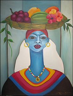 Blue Woman with Fruit   Fritzner Alphonse  country of origin: Haiti  30x36 inches (76x91cm)  acrylic on canvas  unframed