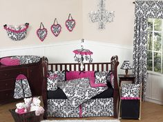 Luxury Designer Black and White Damask Unique Newborn Baby Girl Crib Bedding Set | eBay ( sweet jojo designs Isabella)