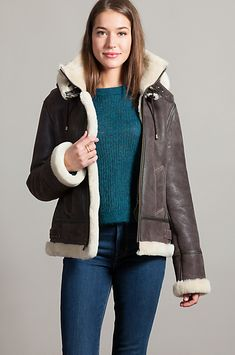 Made from fine Australian shearling sheepskin for a cushiony exterior and a plush wool interior, our trusty bomber includes a removable shearling hood. Coats For Women, Sweaters For Women, Women's Sweaters, Bomber Jacket Outfit, Men's Leather Jacket, Leather Jackets, Sheepskin Coat, Shearling Jacket, Fashion Company