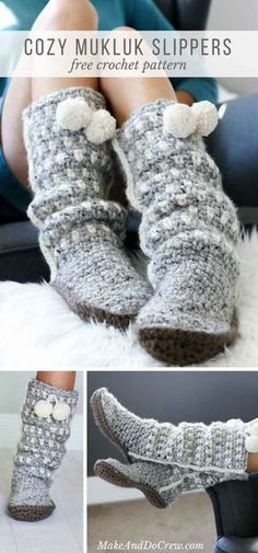 These slouchy, stylish and easy crochet slippers come together with surprisingly simple construction and very few ends to weave in! Free pattern + tutorial using Lion Brand Wool-Ease Thick & Quick. via Free crochet boot pattern Easy Crochet Slippers, Crochet Slipper Boots, Slipper Socks, Felted Slippers, Crochet Mittens Free Pattern, Crochet Stitches, Crochet Edgings, Crochet Patterns Free Easy Quick, Free Crochet Slipper Patterns