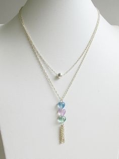 Layered necklace, natural rainbow fluorite heart pendant with tassel necklace, 925 sterling silver necklace, summer jewelry, FREE shipping