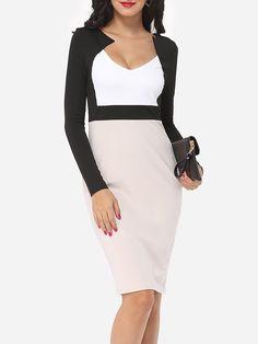 Color Block Elegant V Neck Bodycon-dress - fashionme.com